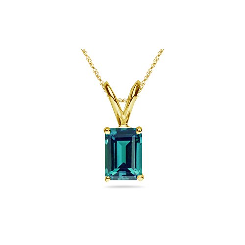 18.80-25.53 Cts of 18x13 mm AAA Emerald Russian Lab Created Alexandrite Solitaire Pendant in 14K Yellow Gold