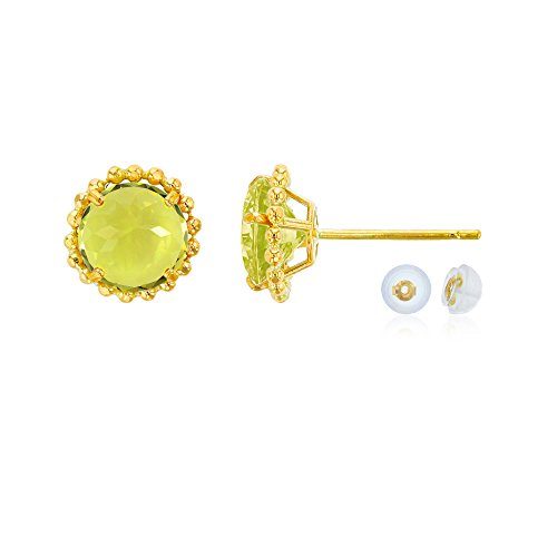 - 10K Yellow Gold 5mm Round Lemon Quartz with Bead Frame Stud Earring with Silicone Back