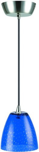 Lite Source Inc Lite Source LS-14081 Carlotta Pendant Lamp with Colored Blue Glass Shade, Polished Steel,