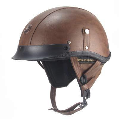 Retro Helmet Half Helmet Moto Helmets Biker Motorcycle Vintage Moped Scooter Chopper Cruiser Pilot Jet Scooter Helmet,Brown,M