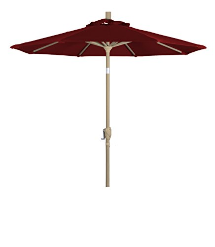 Eclipse Collection 7.5' Aluminum Market Umbrella Push Tilt Champagne/Olefin/Red