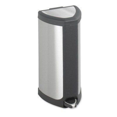 Safco 9685SS Step-On Waste Receptacle Triangular Stainless Steel 4gal Chrome/Black