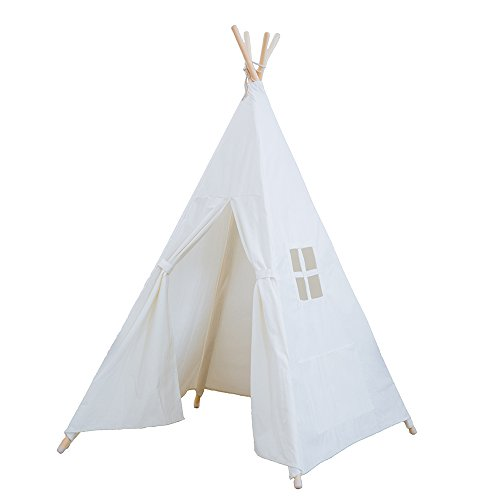 RONGFA Kid's Foldable Teepee Play Tent, One Four Ploes Style, White ()