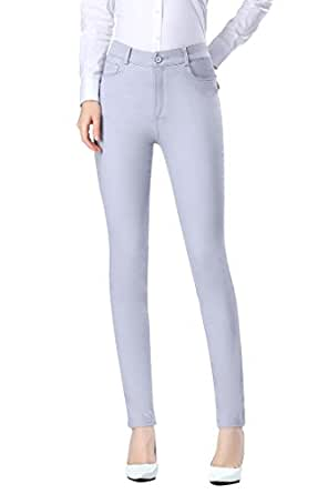 Women's Jeans Stretch Five Pocket Jeggings Denim Pants (M, Grey1)