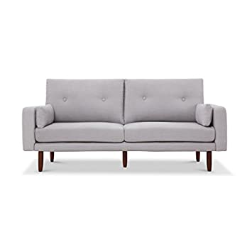 Capsule Home Brentwood Mid Century USB Sofa In Light Grey Linen
