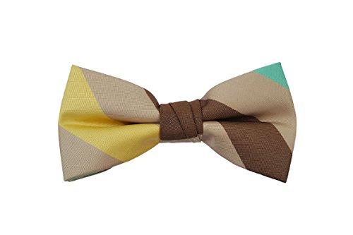 Tan Stripe Bow - Born to Love - Boys Kids Pre Tied Adjustable Bowtie Bow Tie 4 Inches (Tan Soft Stripes)