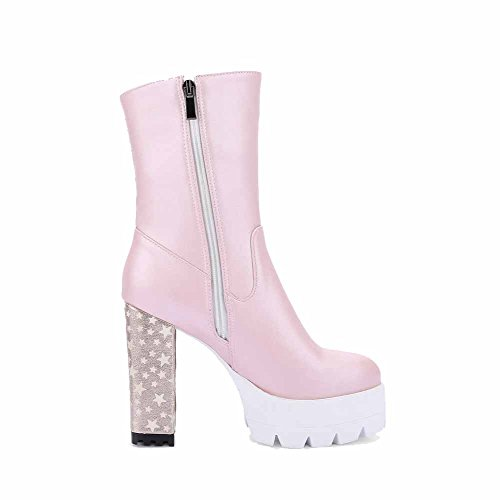 Allhqfashion Donna Tacco Alto Con Cerniera Pu Assortiti Colore Mid Top Stivali Rosa