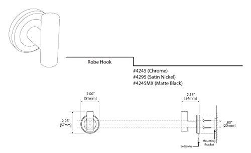 Gatco 4245 Latitude II Single Robe Hook, Chrome