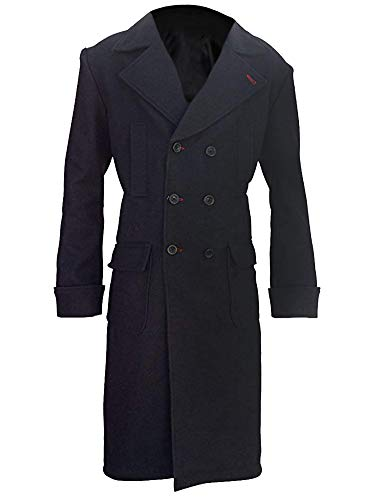 LP-FACON Sherlock Holmes Benedict Cumberbatch Black Cotton Trench Coat