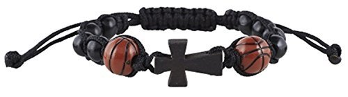 My Sports Basketball Athlete Rosary Bracelet with Wood Cross Pendant, 7 1/2 Inch ()