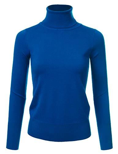 NINEXIS Women's Basic Long Sleeve Soft Turtle Neck Sweater Top COBALTBLUE M