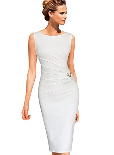 VfEmage Womens Celebrity Elegant Ruched Business Cocktail Bodycon Dress 8002 WHT M