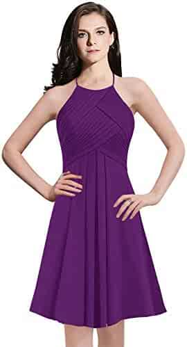 67cc6097ffa2 ThaliaDress Womens Chiffon Short Halter Bridesmaid Dress Cocktail Party Evening  Gown T073LF