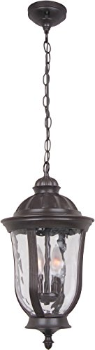 Craftmade Z6011-92 Hanging Lantern with Clear Water Glass Shades, Bronze
