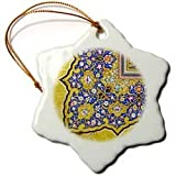 3dRose orn_162530_1 Purple and Matte Gold Arabian Floral Pattern Snowflake Porcelain Ornament, 3-Inch