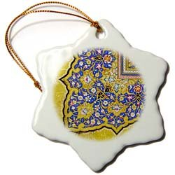3dRose orn_162530_1 Purple and Matte Gold Arabian Floral Pattern Snowflake Porcelain Ornament, 3-Inch by 3dRose