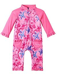 UV SKINZ UPF50+ Baby Girl Sun & Swim Suit-Bubblegum Starfish (3T) by UV SKINZ