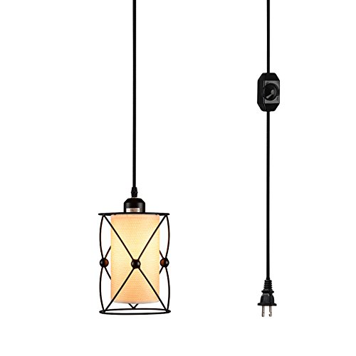 Creatgeek Plug-In Modern Industrial Pendant Light with Linen Drum Lamp Shabe, 15' Hanging Cord and In-Line On/Off Dimmer Switch,Black Finish Cylinder Style (Outdoor Pendant Light Modern)