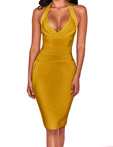 UONBOX Women's Sexy Halter V Neck Knee Length Party Rayon Bodycon Bandage Dress (Ginger, ()