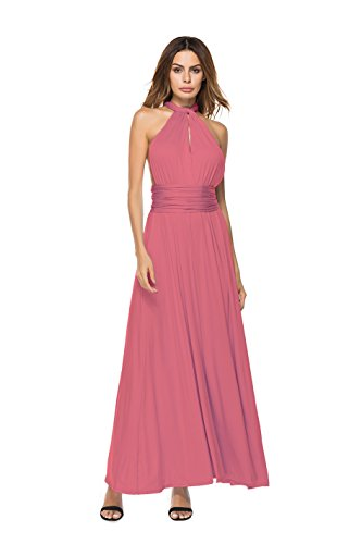 Clothink Convertible Wrap Maxi Long Dress Wedding Party Women Brown (Halter Womens Maxi Dress)