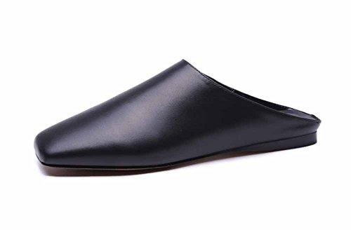 Carré 2018 Black En Simple Sandales Femmes Modèles Plat Mules Printemps Cuir Mocassins Pantoufles Eté Fond qZ8xxTBEw