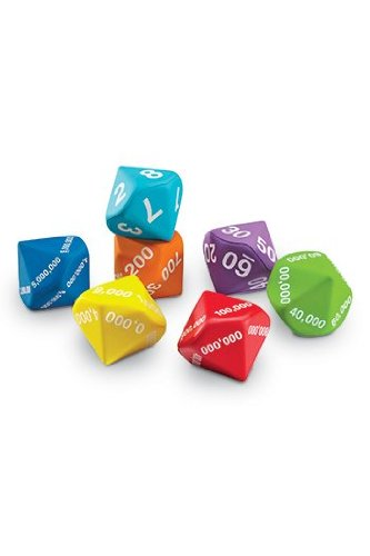 LEARNING RESOURCES Set of 7 Place Value Foam Dice