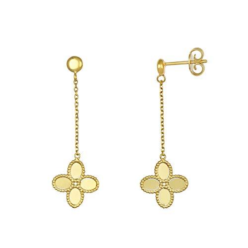 14k Italian Yellow Gold Four Leaf Clover Flower Drop Earrings