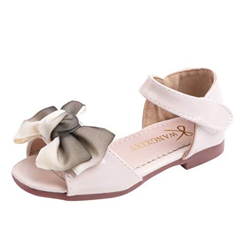 (Respctful✿Kids Girls Cute Flower Open Toe Flat Strap Summer Sandals Casual Ankle Strap Fashion Non Slip Flat Sandals White)