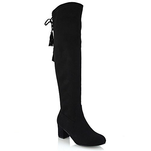 Essex Glam Womens Black Faux Suede Over The Knee High Lace Up Boots 7 B(M) US