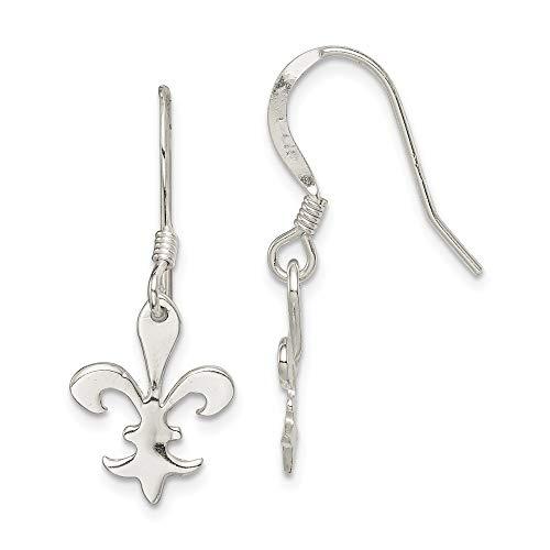 (925 Sterling Silver Fleur De Lis Drop Dangle Chandelier Earrings Fine Jewelry Gifts For Women For Her)