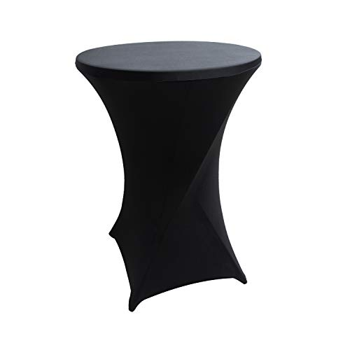 iEventStar 30 inches Highboy Cocktail Round Stretch Spandex Fitted Table Cover High Top Square Corners Tablecloth (30'' x 42'', Black)