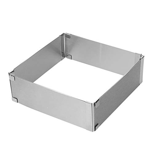 Colmkley Stainless Steel Adjustable 16-30 Mousse Cake Square Mold with Press Set, Cake Mousse Mould Cake Baking Cake Decor Mold Ring for Birthday Cake, Party Dessert, Handmade Snack, Gift ()