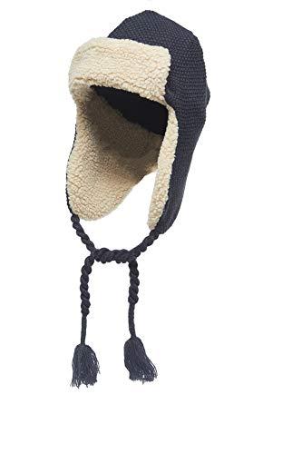 (Heat Edge Warm Sherpa Trapper Hat with Fleece Lining & Ear Flaps - Aviator Russian Ushanka Hat (Navy, One Size) )