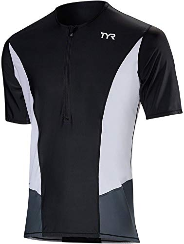 TYR Competitor Short-Sleeve Top - Men's Black/White, XL
