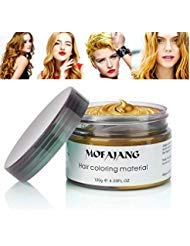 MOFAJANG Hair Coloring Dye Wax, Orange Gold Instant Hair Wax, Temporary Hairstyle Cream 4.23 oz, Hair Pomades, Natural Hairstyle Wax for Men and Women Party -