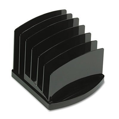 OIC Incline Sorter - 6.37 x 7.5 x 7.5 - 2 Pocket(s) - 6 Compartment(s) - Black by Oic