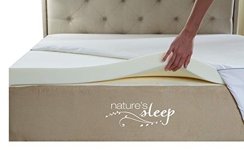 Nature's Sleep Cool IQ Twin Size 2.5 Inch Thick, 3.5 Pound Density Visco Elastic Memory Foam Mattress Topper with Microfiber Fitted Cover and 18 Inch Skirt