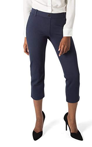 e04f45c2d9742 Betabrand Women's Dress Pant Yoga Pants (Cropped-Leg) M Navy - Import It All