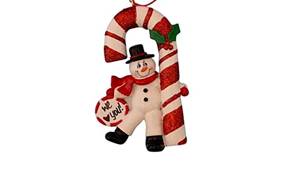 90a7df50ef2 Candy Cane Snowman Personalized Ornament - (Unique Christmas Tree Ornament  - Classic Decor for A Holiday Party - Custom Decorations for Family Kids  Baby ...