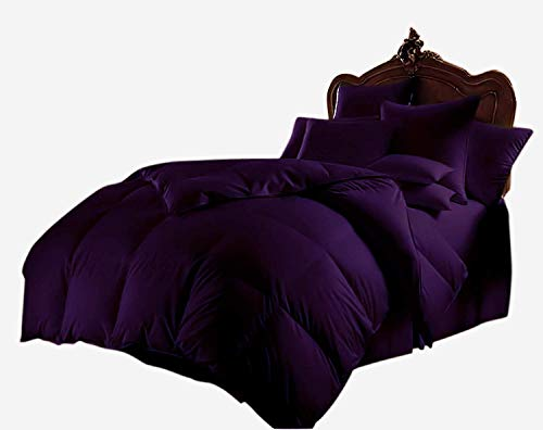 Kanak Bedding Luxurious Ultra Soft 1 Piece Box Stitched Goose Down Alternative Quilted Comforter 300 GSM 600 Thread Count 100% Pure Organic Cotton Solid (Full/Queen Purple)