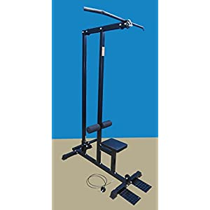 TDS 600lb rated LAT MC (Oly) with deluxe seat, Covered Foam knee holders, and removable front steel foot rests to hold the machine in place to avoid Machine lifting while doing standing exercises.