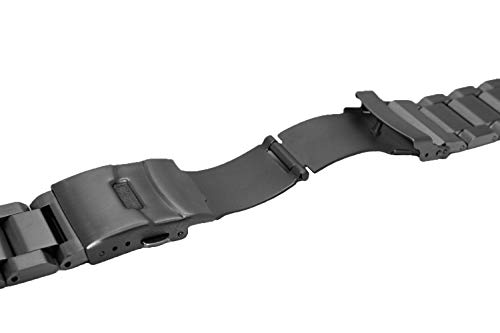 24mm Black Matte Wrist Bracelet Top Grain Stainless Steel Replacement Watch Band with Double Locks by SINAIKE (Image #3)