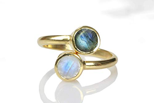 - Elegant AA Labradorite-Moonstone Ring by Anemone Unique - Adjustable Stacking Gold Ring Sizes 3 to 12.5 - Handmade with Engraving Available and Gift Box