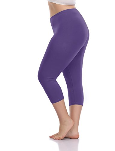 VOGUEMAX Women's Capri Leggings Plus Size Stretch and Comfy High Waisted Three-Quarter Leggings Plus