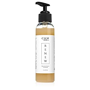 C.S.M. RENEW Face Wash for Smoother, Radiant Skin - Organic Cleanser for Acne and Antiaging Results for Men and Women with Aloe, Lavender, White Willow Bark