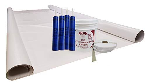 (Class A Customs Sure-Flex PVC RV Rubber Roof Kit 9.5' X 25' Complete Kit)