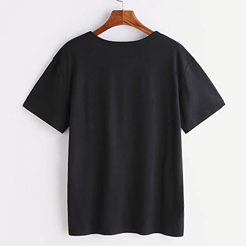 Haut Gilet Unie Tops Été Dessinée Bande Noir T Manches Polo Impression Tunic Cutude shirts Casual Women Couleur Chemise Femme Courtes OBwqUzE5x