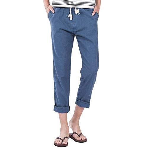 Da Sottili Blau Tinta Uomo Laterali Lino Di Casual Unita 88 Solidi Bobo Tasche Pantaloni Spiaggia ZFffBU