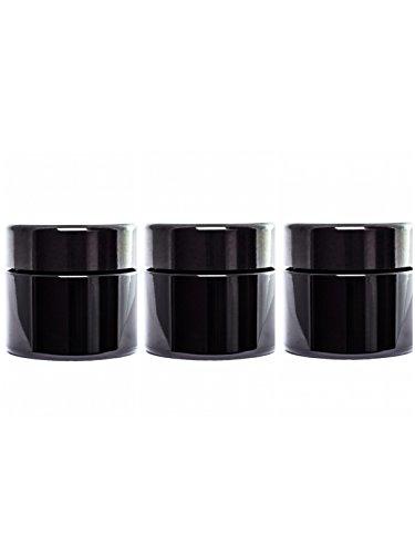 2g Jar (ultravioLeaf 30 ml (1 fl oz) Pocket Size Black Ultraviolet Glass Screw Top Jar | Airtight Stash Container 3-Pack)