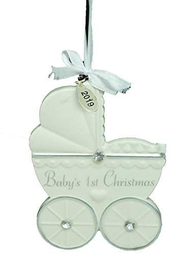 (Twisted Anchor Trading Co 2019 Babies First Christmas Ornament Personalized Baby Ornament Ivory Carriage with Gift Box)